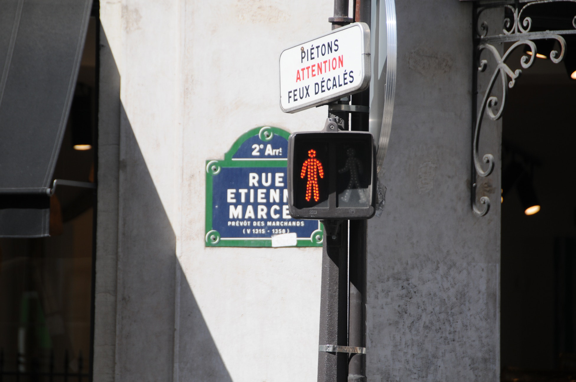 Red light on Etienne Marcel street in Paris. The Morning Walk Paris guided tours